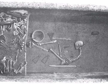 Beeld van het Viking-graf zoals dat eind negentiende eeuw werd aangetroffen (su.se)