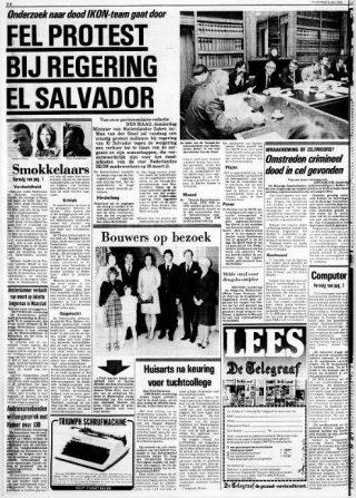 'Fel protest bij regering El Salvador', in chocoladeletters in De Telegraaf van 15 april 1982