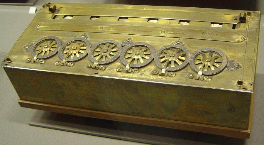 De Pascaline, een van de eerste mechanische rekenmachines, gemaakt door Blaise Pascal en zijn vader (wiki)