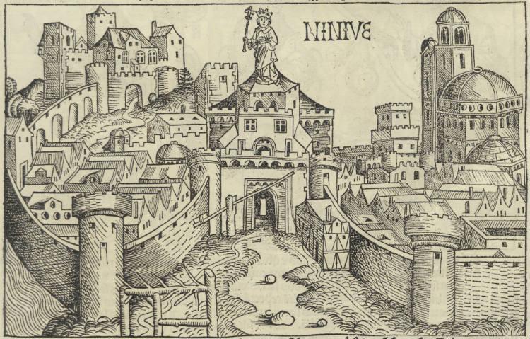 De stad Nineveh Uit het 'Liber chronicarum' van Hartman Schedel, 1493 (Bijzondere Collecties, Universiteit Utrecht)