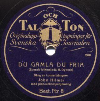 'Du gamla, Du fria' op een oud singletje - cc