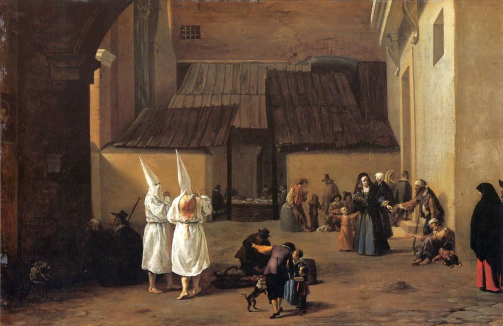 Flagellanten op een schilderij van Pieter van Laer