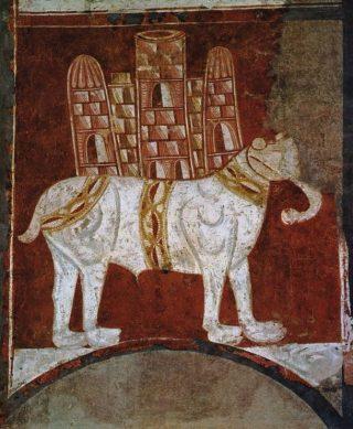 Fresco van een witte oorlogsolifant (Spanje, elfde eeuw)