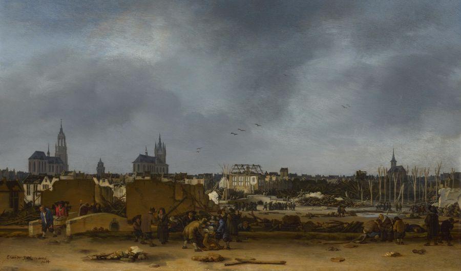 Delftse Donderslag - Gezicht op Delft na de explosie van 1654 (1654) door Egbert Lievensz. van der Poel