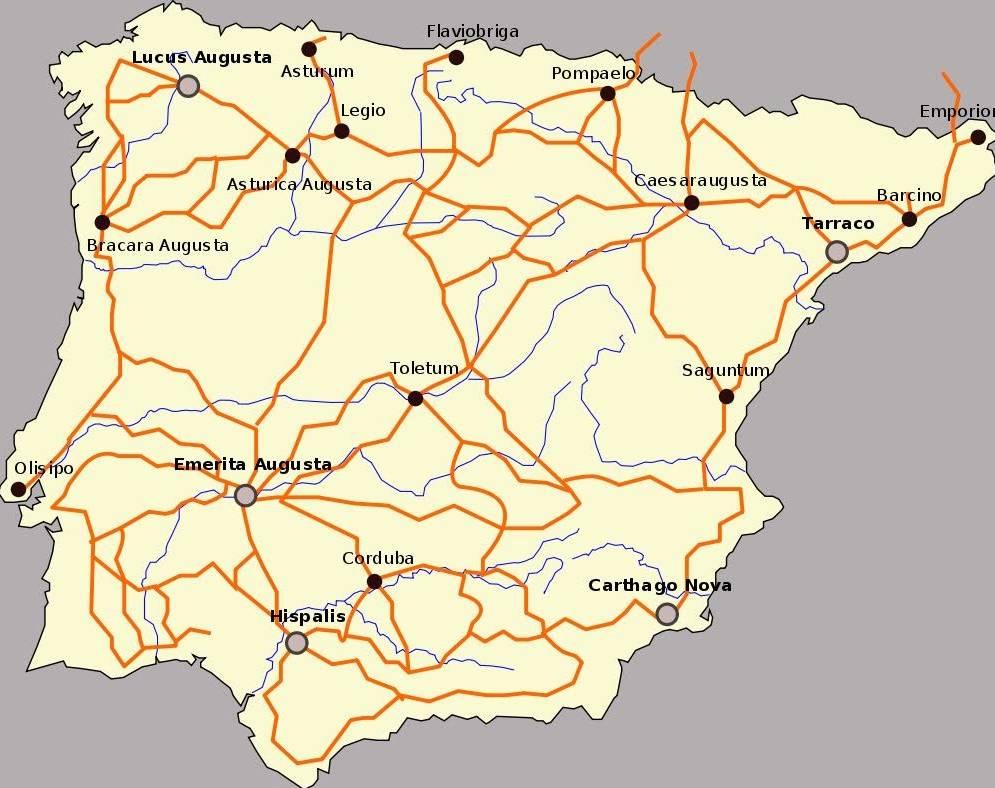 Het Romeinse wegennet op het Iberisch schiereiland