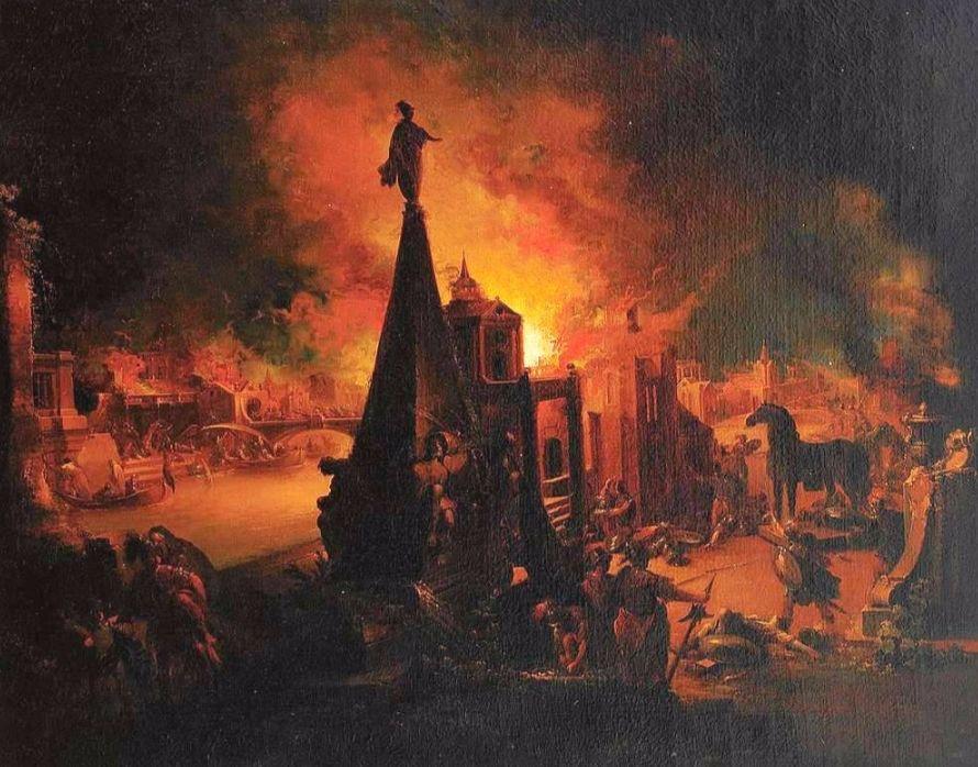 Het brandende Troje (Johann Georg Trautmann)