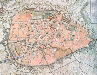 Kaart van de stad Brussel met stadsomwalling rond 1745 - cc