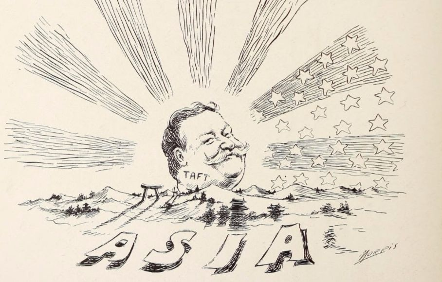 Politieke cartoon over William Howard Taft, 'uitvinder' van de 'dollardiplomatie' (wiki)