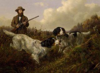 Schilderij over de jacht van Arthur Fitzwilliam Tait
