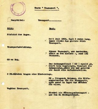 Script Westerborkfilm, NIOD