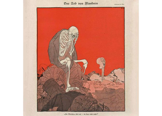 De Dood van Vlaanderen verzucht in het Duitse satirische blad Simplicissimus van 19 juni 1917: 'Mensen, hou er mee op. Ik kan niet meer'.