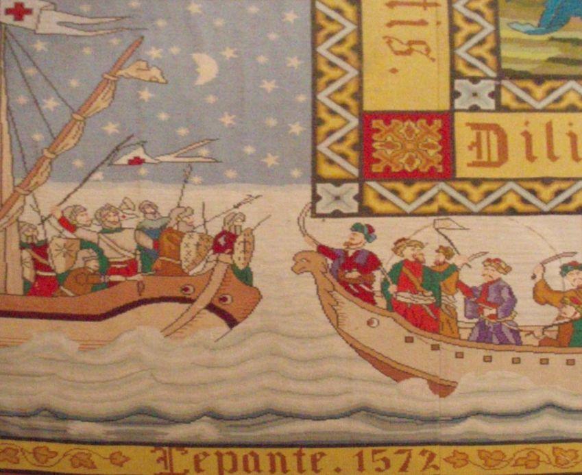 Slag bij Lepanto, uitgebeeld op een negentiende-eeuws tapijt