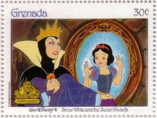 Walt Disney liet zich door Uta inspireren bij het ontwerpen van de 'Boze Stiefmoeder' in het sprookje van Sneeuwwitje; hier op een postzegel uit Grenada.