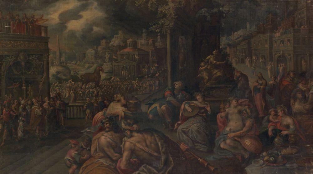 Trojanen vieren feest na het binnenhalen van het Paard van Troje - Frederik van Valckenborch
