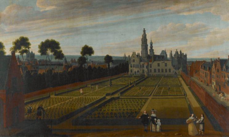 Guilliam van Schoor (landschap) en Gillis van Tilborgh (figuren). Het Paleis van Nassau te Brussel. 1658. Brussel, Koninklijke Musea voor Schone Kunsten van België.
