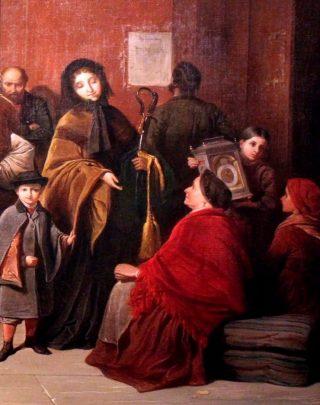 Een weduwe brengt de sabel van haar in de Pruisisch-Oostenrijkse oorlog gevallen man naar de lommerd. Schilderij (fragment) van Friedrich Friedländer, 1866