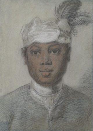 Hoofd van een zwarte jongeman met tulband met veren, Cornelis Troost, 1747. Collectie Rijksmuseum