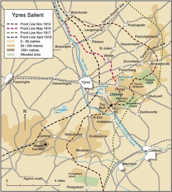 De frontbewegingen in de Ieperboog (Ypres Salient) tussen 1914 en 1918. (Kaart Commonwealth War Graves Commission)