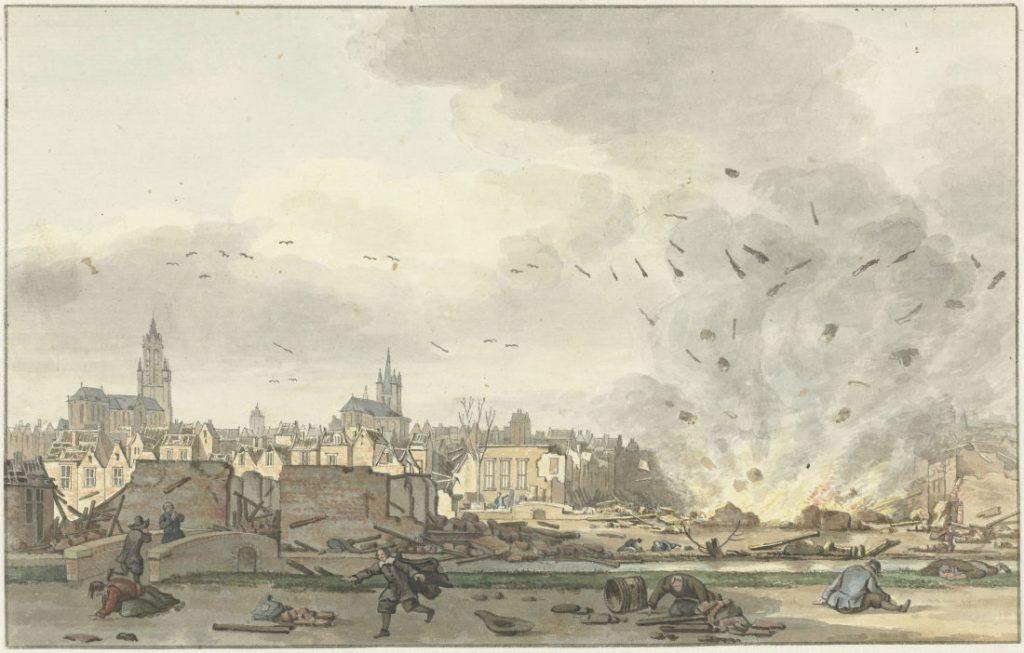 De ontploffing van het Kruithuis in Delft, 12 oktober 1654, Hendrik de Winter, naar Egbert Lievensz. van der Poel, 1758