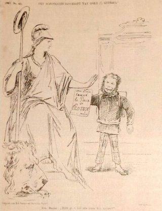 potprent in de Nederlandsche Spectator (1867). Minister Van Zuylen van Nyevelt toont de Nederlandse Maagd het telegram waarin Bismarck hem gelukwenst met het 'redden van de vrede in Europa'. Haar reactie: 'Hebt ge u zóó iets laten wijs maken?'