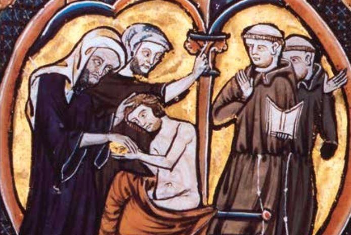 Franciscaanse broeders zijn getuige van het kathaarse consolamentum. Tweede helft van de dertiende eeuw, Bibliothèque nationale de France.