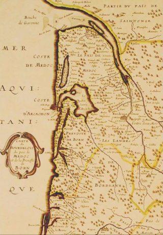 Kaart van onder andere de Médoc, A. Peyrounin, 1646, Bibliotheque Bayonne