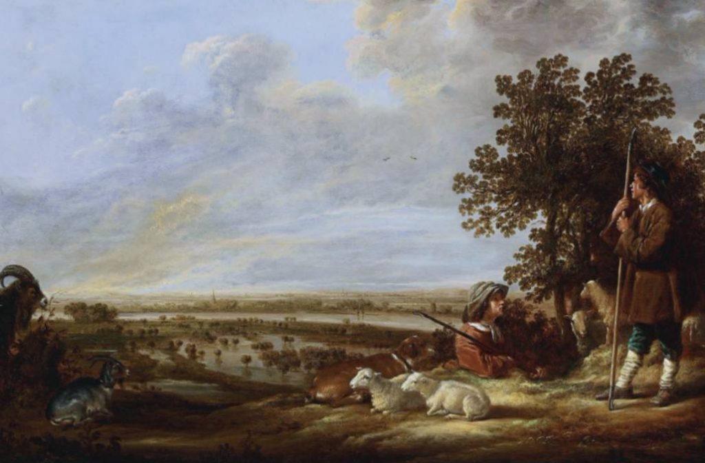 Landschap met twee herders en hun dieren - Albert Cuyp