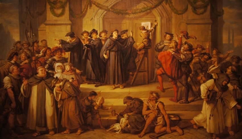 De 95 stellingen van Maarten Luther op een 19e-eeuws schilderij van Julius Hübner
