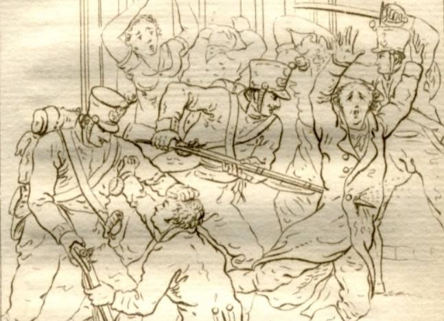 De Ramp van Woerden - Tekening van J.W. Pieneman