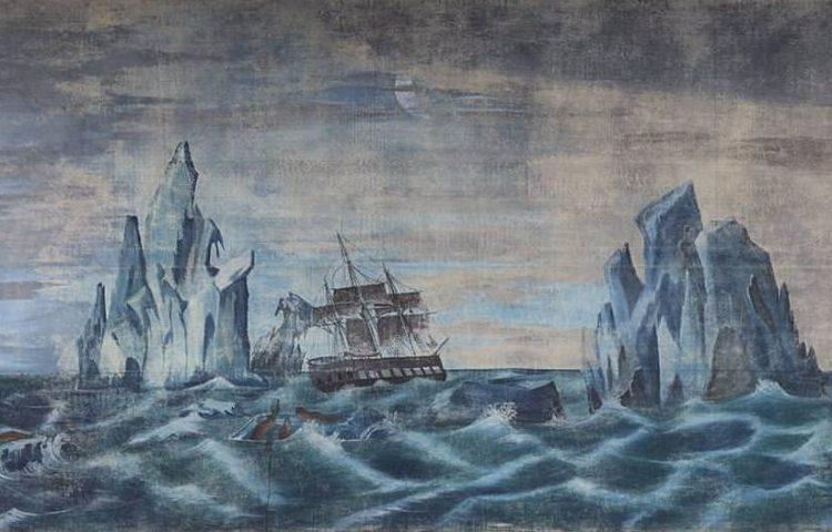Detail van het panorama met daarop Kaap Hoorn (New Bedford Whaling Museum)