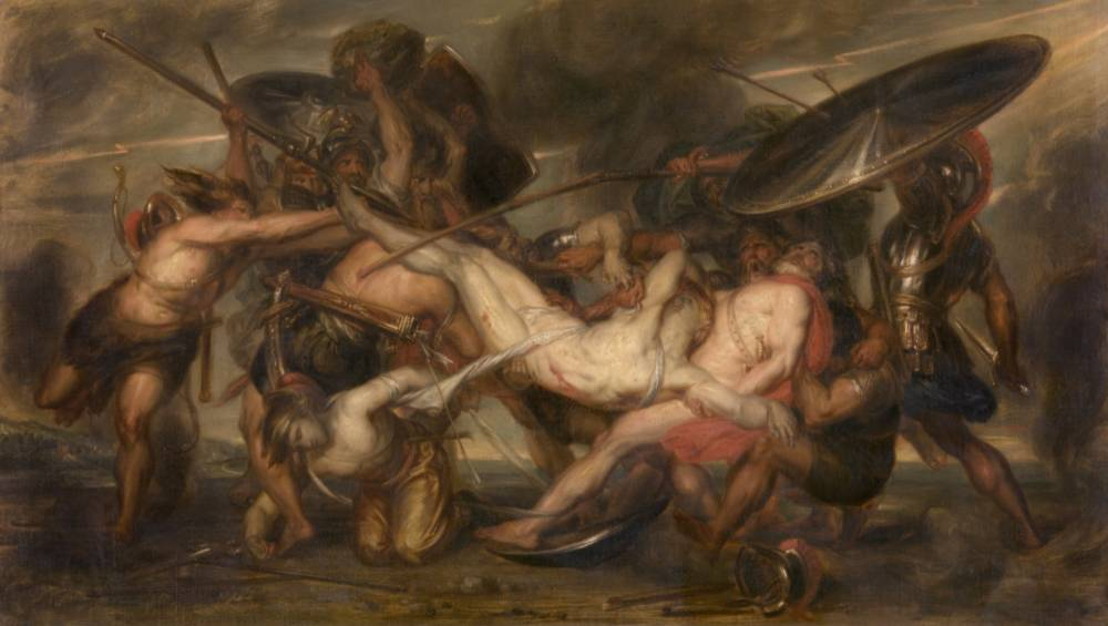 Grieken en Trojanen vechten om het lichaam van Patrokles - Antoine Wiertz  (1844-45)
