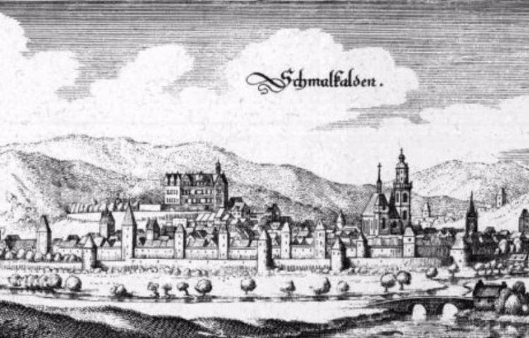 Het Schmalkaldisch Verbond - Schmalkalden op een tekening van Matthäus Merian uit 1655