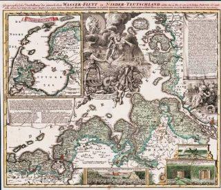 Kaart van de gevolgen van de Kerstvloed van 1717 - Johann Baptist Homann