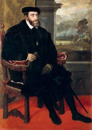 Karel V in Augsburg. Schilderij door Titiaan uit 1548.