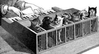 Negentiende-eeuwse afbeelding van een kattenorgel - cc