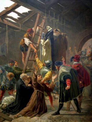 Ophanging van de martelaren van Gorcum in Den Briel (schilderij van Cesare Fracassini)