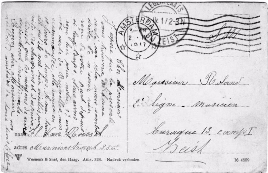 Postkaart geadresseerd aan een geïnterneerde militair in het kamp bij Zeist