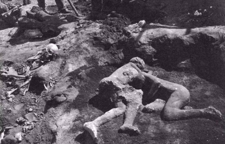 Twee geslaagde gips-afgietsels van Vesuvius-slachtoffers