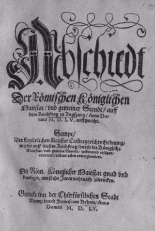 Voorpagina van de Godsdienstvrede van Augsburg (1555)