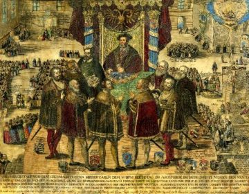Vrede van Augsburg (1555) - Tijdelijke godsdienstvrede (British Museum)