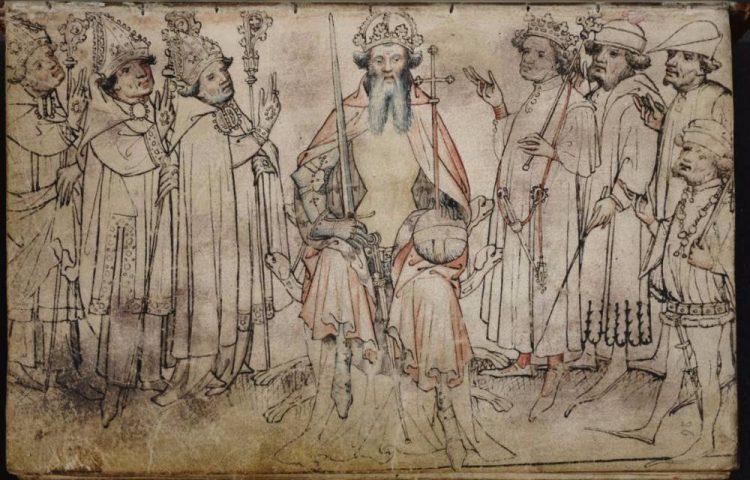 Keizer- en keurvorstentekening (Gelretekening) in het Wapenboek Gelre (Stichting Gebroeders van Limburg)