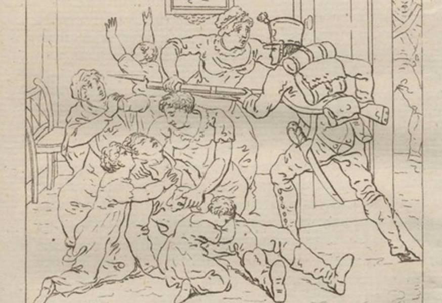 Afbeelding uit Woerden in slagtmaand van Jan Meulman (1814)