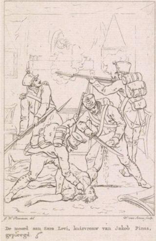De moord op Sara Levi door Franse soldaten, 1813. Ets van Willem van Senus naar een tekening van Jan Willem Pieneman.