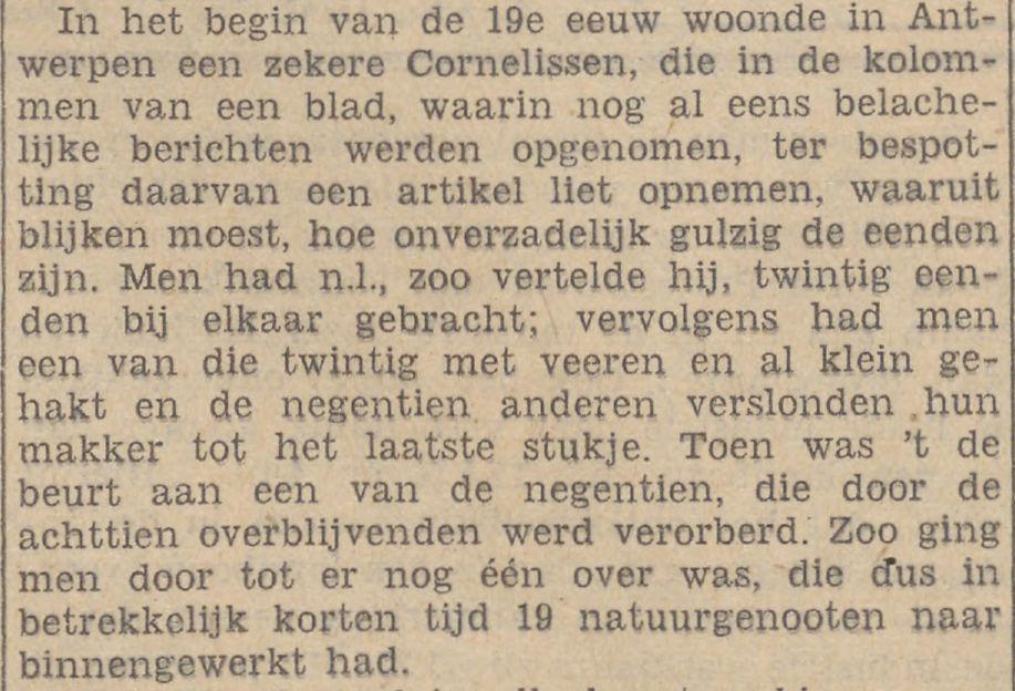 Artikel over het eenden-experiment in de Limburger Koerier van 1 juli 1935 (Delpher)