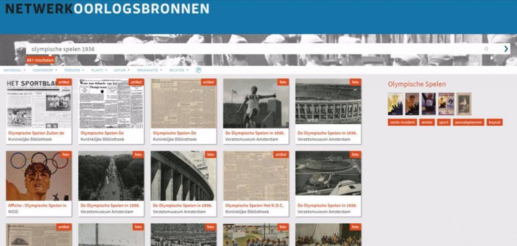 Bronnen over de Olympische Spelen in 1936 in de collectie-portal van NOB
