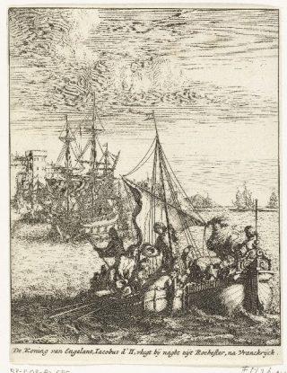 'Vlucht van koning James II naar Frankrijk 1688' (anoniem, mogelijk Bastiaen Stopendael) Bron: Rijksmuseum Amsterdam
