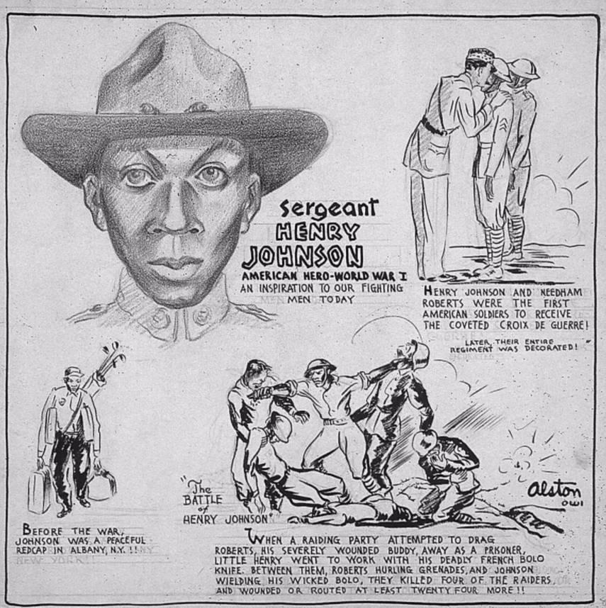 Biografische cartoon van Henry Johnson, gemaakt door Charles Alston in 1943