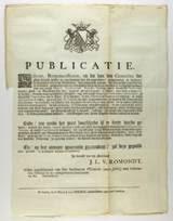 De voorkant van de publicatie uit 1778 waarin wordt aangespoord uit te kijken naar de dader van een gruwelijke kindermoord.
