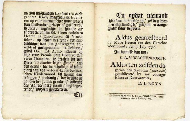 Document over de kindermoord (Utrechts Archief)