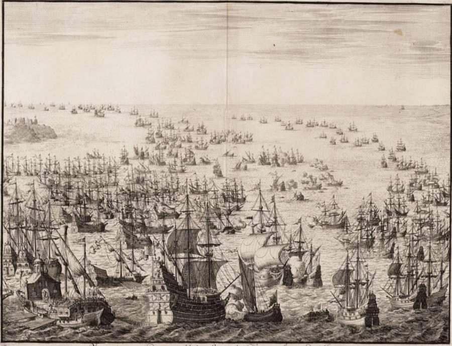 Gravure van de Spaanse Armada door Jan Luyken